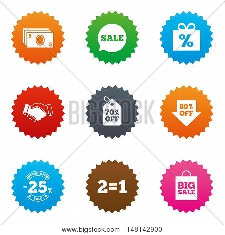 Sale discounts icon. Shopping, handshake and cash money signs. 25, 70 and 80 percent off. Special offer symbols. Stars label button with flat icons. Vector