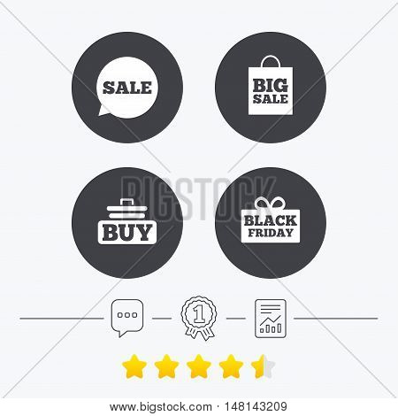 Sale speech bubble icons. Buy cart symbols. Black friday gift box signs. Big sale shopping bag. Chat, award medal and report linear icons. Star vote ranking. Vector