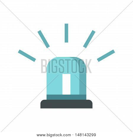 Blue police siren icon in flat style isolated on white background. Equipment symbol vector illustration