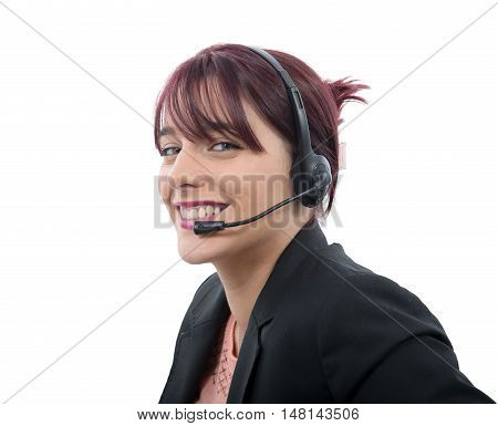 a beautiful business customer service woman with headset