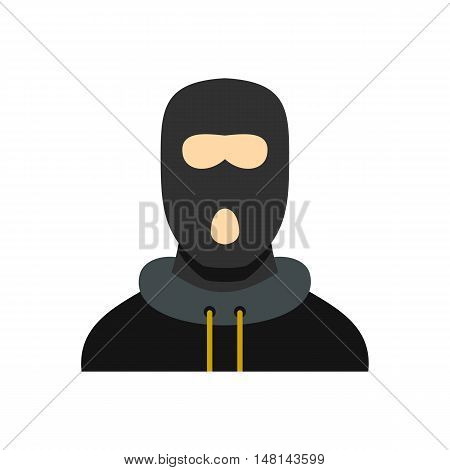 Masked robber icon in flat style isolated on white background. Man symbol vector illustration