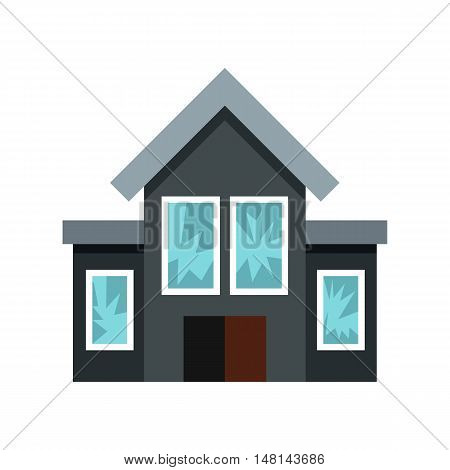 House fired at windows icon in flat style isolated on white background. Attack symbol vector illustration