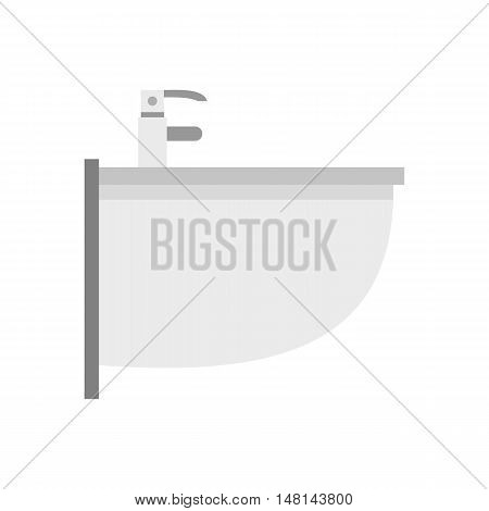 Sink with tap icon in flat style isolated on white background. Plumbing symbol vector illustration