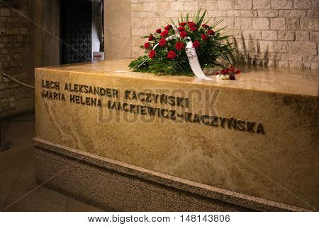 POLAND, KRAKOW - MAY 27, 2016: Grave of Lech and Maria Kaczynski in Wawel castle. Lech Kaczynski was a president of Poland. On 10 April 2010 he and his wife Maria died in the crash at Smolensk-North airport in Russia.