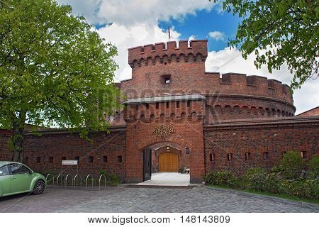 RUSSIA, KALININGRAD - APRIL 29, 2016: Tower of Der Dona, now museum of Amber. Part of the german defensive fortifications in the Konigsberg. After Second World War Konigsberg was called Kaliningrad and became part of Russia.