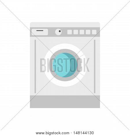 Washing machine icon in flat style isolated on white background. Wash symbol vector illustration