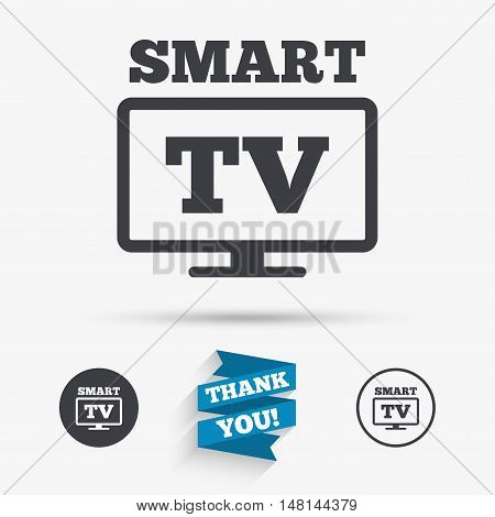 Widescreen Smart TV sign icon. Television set symbol. Flat icons. Buttons with icons. Thank you ribbon. Vector