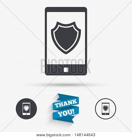 Smartphone protection sign icon. Shield symbol. Flat icons. Buttons with icons. Thank you ribbon. Vector