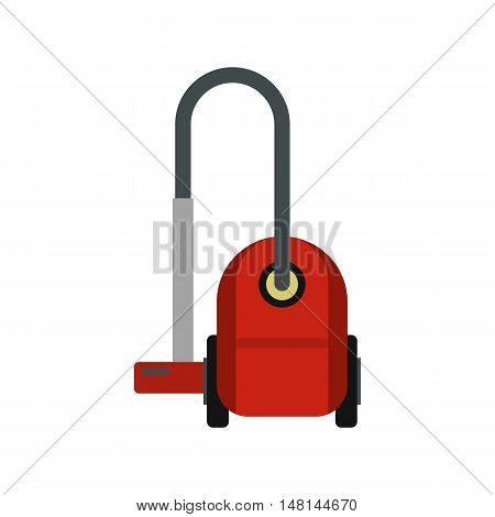 Red vacuum cleaner icon in flat style isolated on white background. Cleaning symbol vector illustration