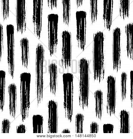 seamless pattern with black watercolor brush strokes