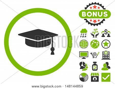 Graduation Cap icon with bonus images. Vector illustration style is flat iconic bicolor symbols eco green and gray colors white background.