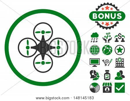 Air Copter icon with bonus images. Vector illustration style is flat iconic bicolor symbols green and gray colors white background.