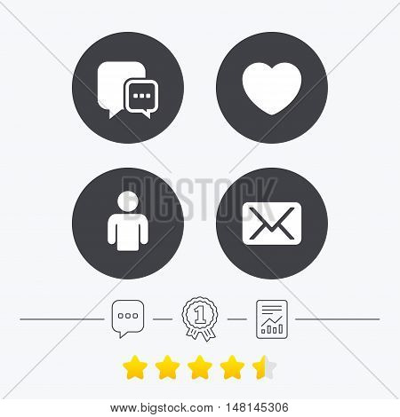 Social media icons. Chat speech bubble and Mail messages symbols. Love heart sign. Human person profile. Chat, award medal and report linear icons. Star vote ranking. Vector