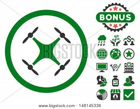 Airdrone icon with bonus pictogram. Vector illustration style is flat iconic bicolor symbols green and gray colors white background.