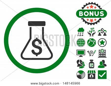 Alchemy icon with bonus pictogram. Vector illustration style is flat iconic bicolor symbols green and gray colors white background.