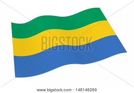 Gabon flag isolated on white background from world flags set. 3D illustration.