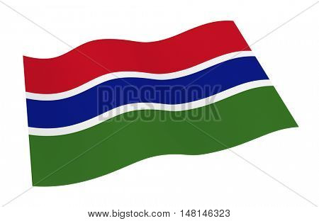 Gambia flag isolated on white background from world flags set. 3D illustration.