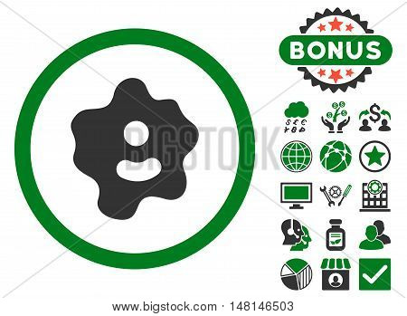 Ameba icon with bonus images. Vector illustration style is flat iconic bicolor symbols green and gray colors white background.