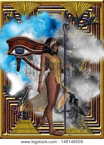 Egyptian Echoes of Time 3D Illustration - Fantasy illustration of the Eye of Ra or Horus and an Egyptian queen with headdress and snake staff.