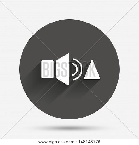 Speaker volume louder sign icon. Sound symbol. Circle flat button with shadow. Vector