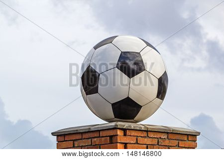 Soccer ball made of marble decorative architectural element