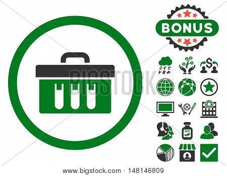 Analysis Box icon with bonus symbols. Vector illustration style is flat iconic bicolor symbols green and gray colors white background.