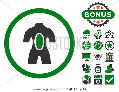 Anatomy icon with bonus elements. Vector illustration style is flat iconic bicolor symbols green and gray colors white background.