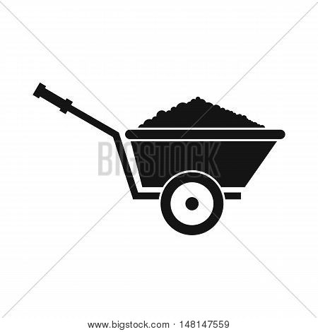 Garden wheelbarrow icon in simple style isolated on white background. Territory cleaning symbol vector illustration