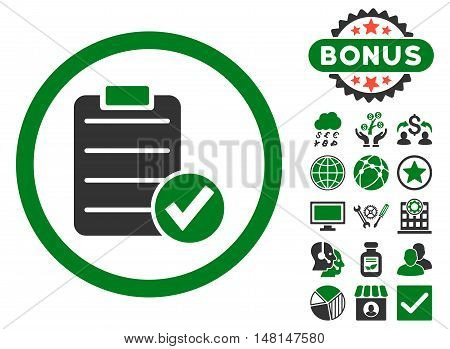 Apply Form icon with bonus design elements. Vector illustration style is flat iconic bicolor symbols green and gray colors white background.