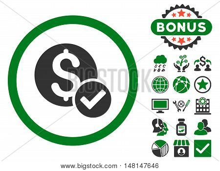 Approved Payment icon with bonus elements. Vector illustration style is flat iconic bicolor symbols green and gray colors white background.