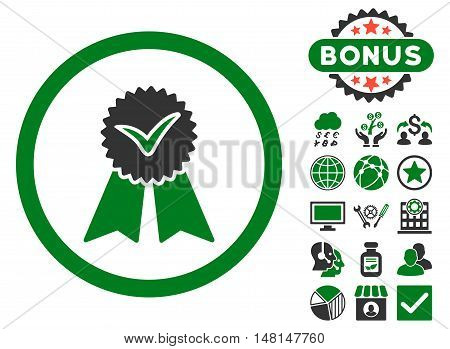 Approvement Seal icon with bonus design elements. Vector illustration style is flat iconic bicolor symbols green and gray colors white background.