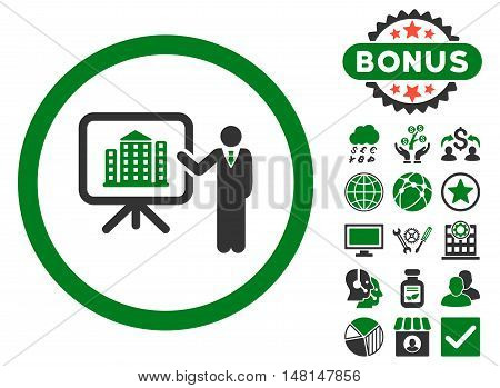 Architecture Presentation icon with bonus pictogram. Vector illustration style is flat iconic bicolor symbols green and gray colors white background.