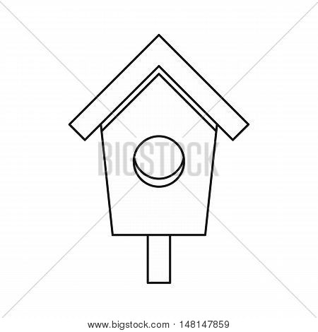 Birdhouse nesting box icon in outline style isolated on white background vector illustration