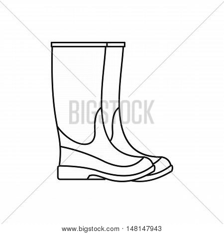 Rubber boots icon in outline style isolated on white background vector illustration