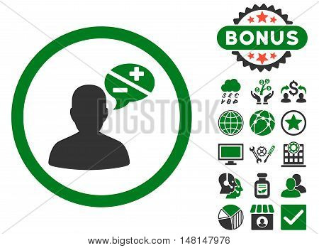 Arguments icon with bonus design elements. Vector illustration style is flat iconic bicolor symbols green and gray colors white background.
