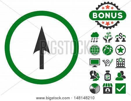 Arrow Axis Y icon with bonus symbols. Vector illustration style is flat iconic bicolor symbols green and gray colors white background.