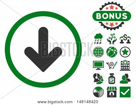 Arrow Down icon with bonus images. Vector illustration style is flat iconic bicolor symbols green and gray colors white background.