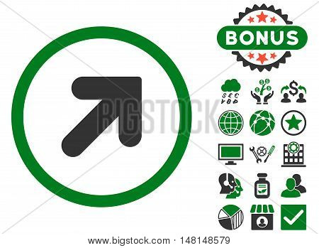 Arrow Up Right icon with bonus images. Vector illustration style is flat iconic bicolor symbols green and gray colors white background.