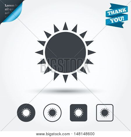 Sun icon. Sunlight summer symbol. Hot weather sign. Circle and square buttons. Flat design set. Thank you ribbon. Vector