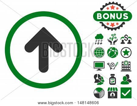 Arrow Up icon with bonus images. Vector illustration style is flat iconic bicolor symbols green and gray colors white background.