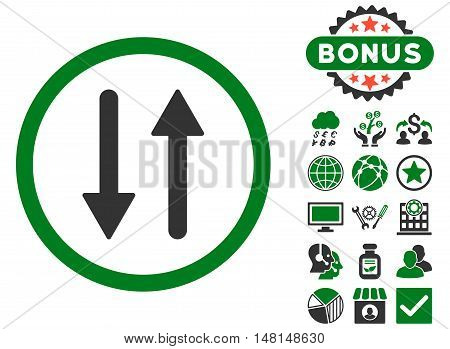 Arrows Exchange Vertical icon with bonus design elements. Vector illustration style is flat iconic bicolor symbols green and gray colors white background.