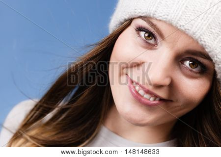 Woman Wearing Winter Wool Cap Portrait