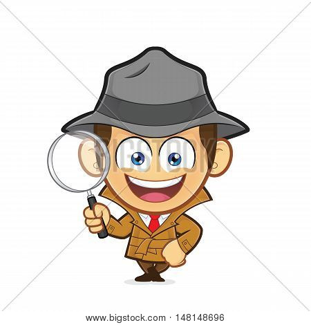 Clipart picture of a detective cartoon character leaning on an empty block
