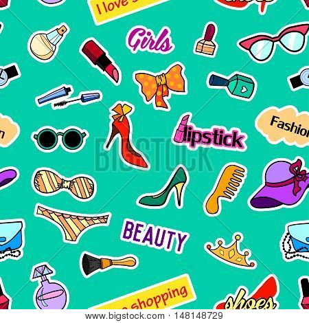 Seamless pattern with fashion patch badges. Pop art. Vector background with stickers, pins, patches in cartoon 80s-90s comic style. Beauty and fashion. Vector clip-art.