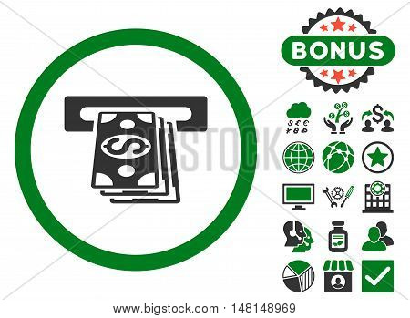 Atm Cashout icon with bonus elements. Vector illustration style is flat iconic bicolor symbols green and gray colors white background.