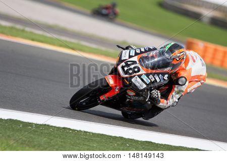 CHESTE, SPAIN - SEPTEMBER 17th: Joan Diaz in Moto3 during Spanish Speed Championship CEV at Cheste Circuit on September 17, 2016 in Cheste, Spain