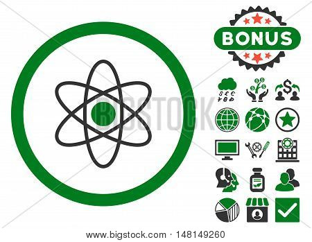 Atom icon with bonus pictures. Vector illustration style is flat iconic bicolor symbols green and gray colors white background.