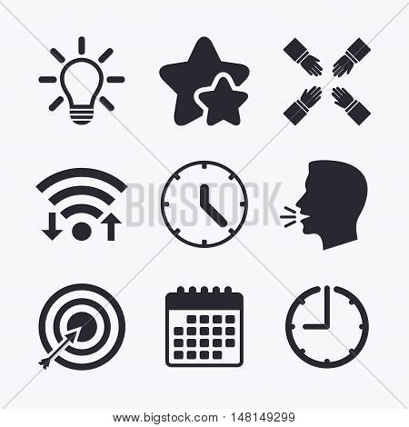 Lamp idea and clock time icons. Target aim sign. Darts board with arrow. Teamwork symbol. Wifi internet, favorite stars, calendar and clock. Talking head. Vector