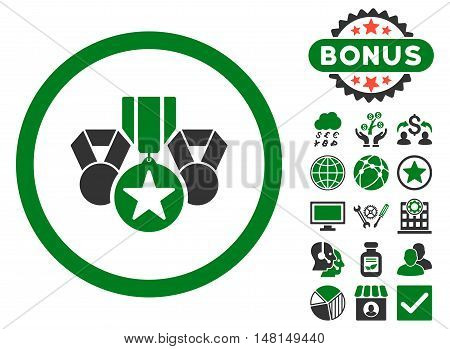 Awards icon with bonus elements. Vector illustration style is flat iconic bicolor symbols green and gray colors white background.