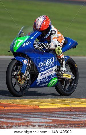 CHESTE, SPAIN - SEPTEMBER 17th: Daniel Mu�±oz in Moto4 during Spanish Speed Championship CEV at Cheste Circuit on September 17, 2016 in Cheste, Spain
